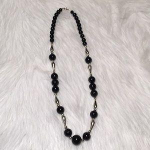 """Vintage Big Black & Silver Beaded 30"""" Necklace"""